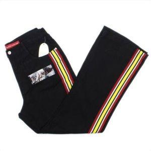 Revolt Black Fit & Flare Racing Stripe Jeans